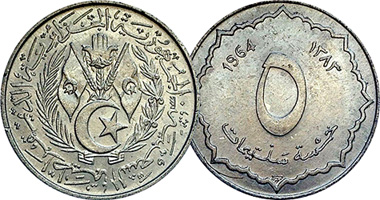 Coin Value: Algeria 1, 2 and 5 Centimes 1964