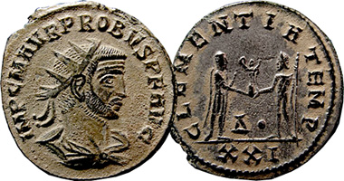 Coin Value: Ancient Rome Probus Antoninianus (CLEMENTIA, XXI) 276AD