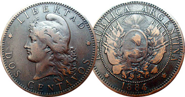 Argentina 1 And 2 Centavos 1882 To 1896