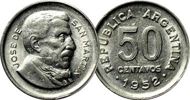 Argentina 5 10 20 And 50 Centavos Jose De San Martin