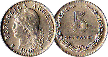 Argentina 5 10 And 20 Centavos 1896 To 1942