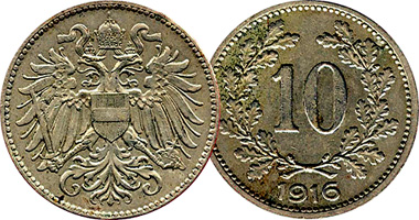 Austria 10 Heller 1915 and 1916