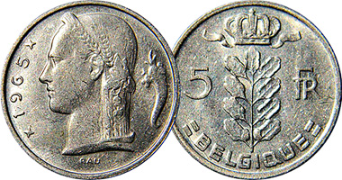 Belgium 1 And 5 Francs 1948 To 1979