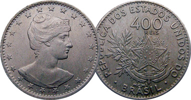 Coin Value Brazil 100 200 And 400 Reis 1901