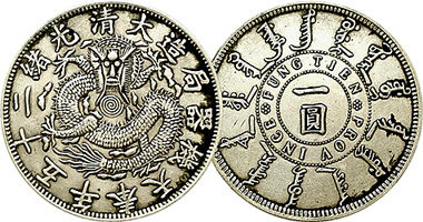 Coin Value: China Fengtien (Fung Tien, Feng Tien) Dollar (Fakes are
