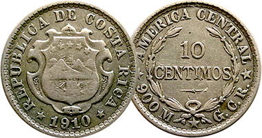 Costa Rica 5 10 And 50 Centimos