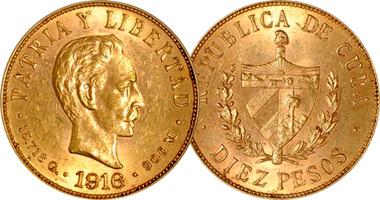 Cuba 2 4 5 10 And 20 Pesos 1915 1916