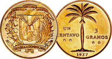 Dominican Republic 1 Centavo 3 Gramos 1937 To 1961