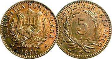 Dominican Republic 5 Centesimos 1891