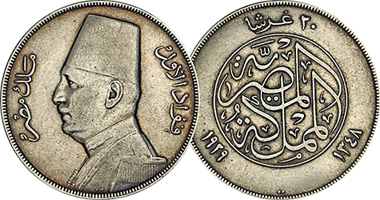 Egypt 2 5 10 And 20 Piastres 1923 To 1933