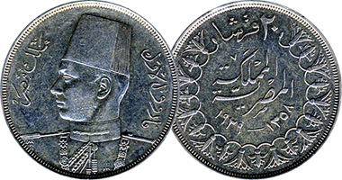 Egypt 2 5 10 And 20 Piastres 1937 To 1942