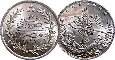 Egypt Ottoman 1 2 5 10 And 20 Qirsh 1876