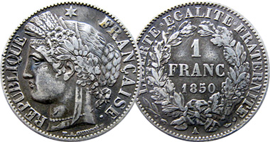 Coin Value: France 20 and 50 Centimes and 1, 2 and 5 Francs