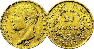 France 20 And 40 Francs 1806 To 1813