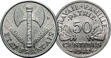 f228dbe2ab17 Coin Value  France 50 Centimes and 1 and 2 Francs 1942 to 1944