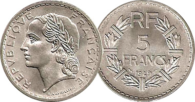 Coin Value: France 5 Francs 1933 to 1952
