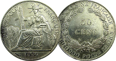 Coin Value: France Indo China Piastre, 10, 20, 50 Cents