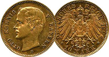 Germany Bavaria 10 And 20 Mark 1888 To 1913