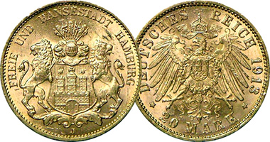 Germany Hamburg 10 And 20 Mark 1875 To 1913
