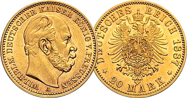 Germany Prussia 10 And 20 Mark 1871 To 1888