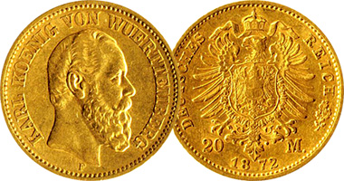 Germany Wurttemberg 5 10 And 20 Mark 1872 To 1891
