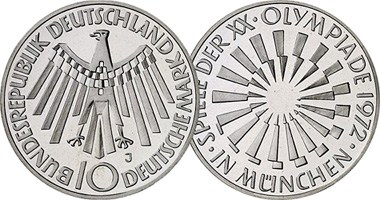 Coin Value Germany 10 Mark Munich Olympics 1972