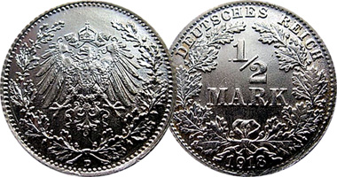Coin Value: Germany Half Mark 1905 to 1919