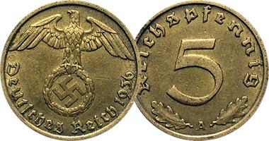 WW2 Rare German 5 Reichspfennig Brass Coin Stamps /& 100000 Mark Bill