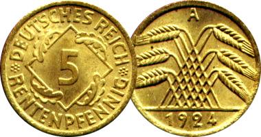 Coin Value: Germany 5, 10 and 50 Reichspfennig and Rentenpfennig