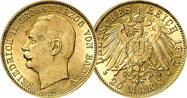 Germany Baden 10 And 20 Marks 1909 To 1914