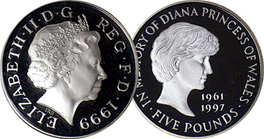 Coin Value: Great Britain 5 Pounds Diana 1999