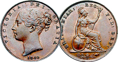 Coin Value: Great Britain Farthing, 1/2 and 1 Penny (Victoria) 1838
