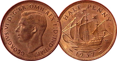 Great Britain Half Penny 1937 to 1970