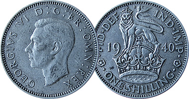 Great Britain Shilling With English Reverse 1902 To 1951
