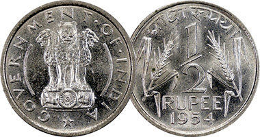 Coin Value India 1 4 1 2 And 1 Rupee 1950 To 1956