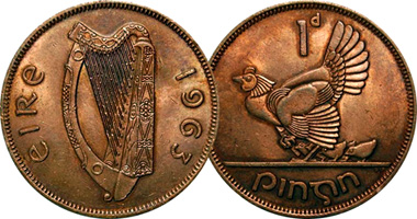 Coin Value: Ireland 1 Penny 1928 to 1968