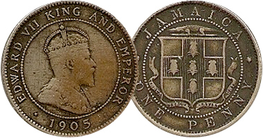 Jamaica Penny Half And Hing 1869 To 1969