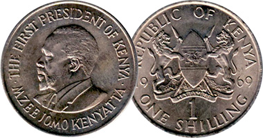 Kenya 5 10 25 And 50 Cents 1 Shilling 1966 To 1978