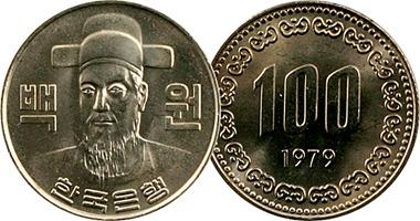 Korea South 100 Won 1970 To Date