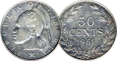 Coin Value Liberia 10 25 50 Cents