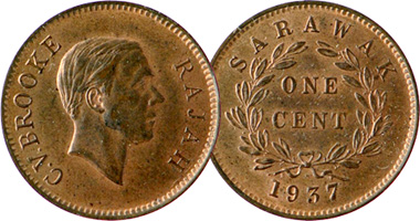 Coin Value: Malaysia Sarawak 1/4, 1/2, and 1 Cent 1863 to 1891