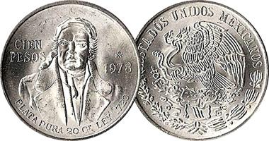 Mexico 100 Pesos 1977 To 1979