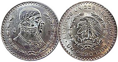Coin Value Mexico 1 Peso 1957 To 1967