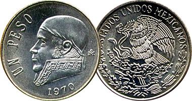Coin Value Mexico 1 Peso 1970 To 1983