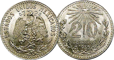 Coin Value: Mexico 10, 20 and 50 Centavos 1905 to 1945