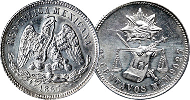 Mexico 25 And 50 Centavos 1869 To 1895