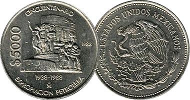 Coin Value Mexico 5000 Pesos 1988