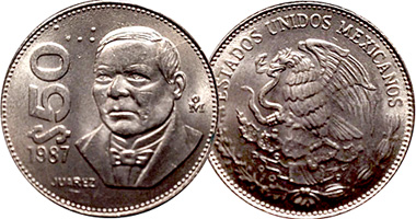 Coin Value Mexico 50 Pesos 1984 To 1992