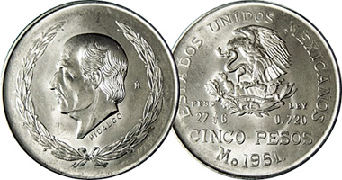 Coin Value: Mexico 5 Pesos 1951 to 1954