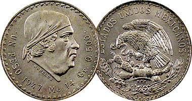MEXICO 1 PESO 1974 AU JOSE MARIA MORELOS,ARMORED BUST RIGHT,NATIONAL ARMS EAGLE